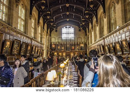 People Visit The Great Hall Of Christ Church, University Of Oxford, England