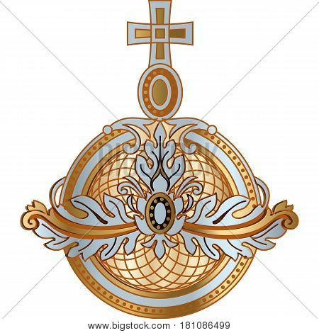 Power attribute monarchy orb of king queen czar vector icon. Golden and silver royal attribute of emperor illustration.