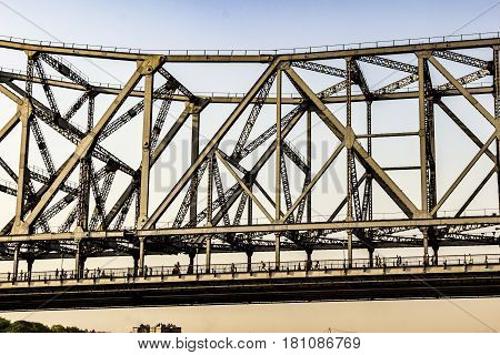 People Cross The  Howrah Bridge
