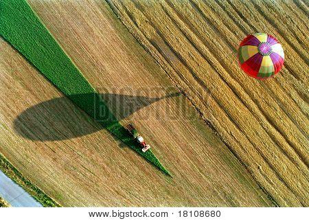 The hot air ballon over the earth
