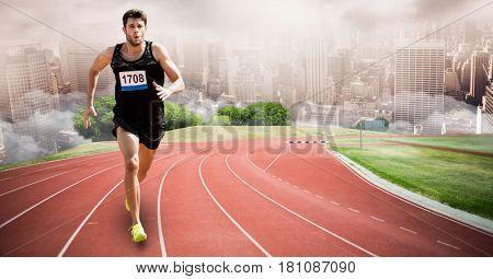 Digital composite of Digital composite image of sport runner running on tracks against city