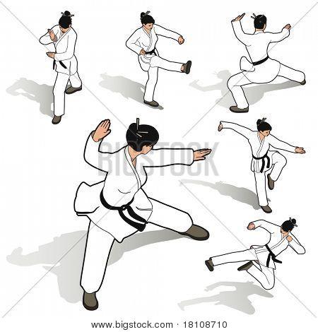 karate woman set