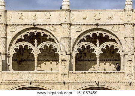 Detail View Of Window In Jeronimos Monastery With Visitor