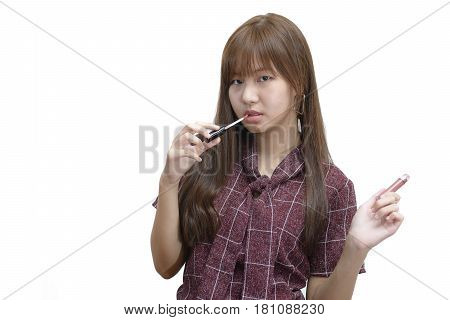 Girl Standing And Show Matte Lipstick. Fashion Makeup Concept.