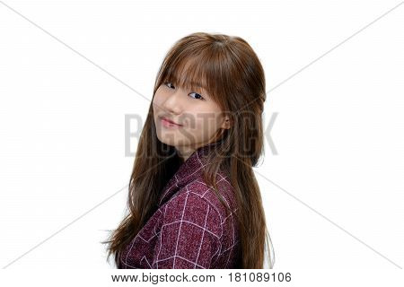 Portrait of beautiful female model turn back and smiling over white background