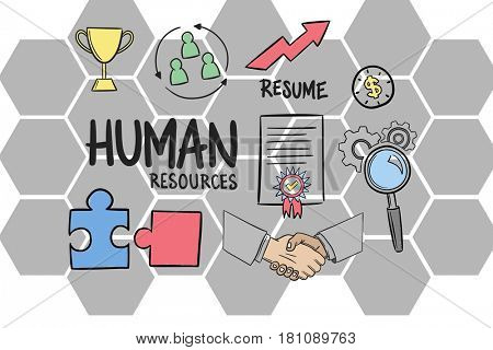 Digital composite of Digital composite image of Human resources sign with icons