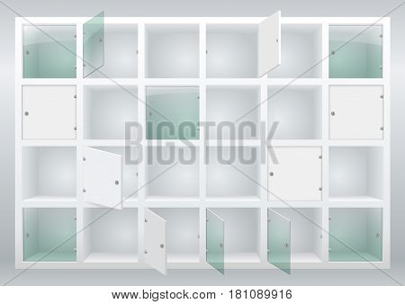 Shelves and drawers with doors of their glass or plywood. Cloakroom or storage of things. Vector graphics
