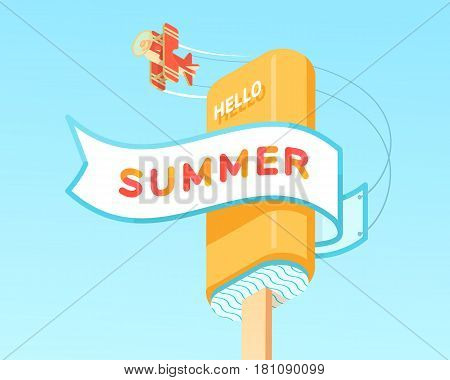 summer sign template on ribbon with plate and icecream