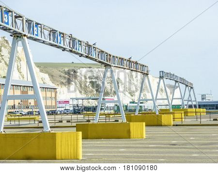 DOVER, ENGLAND - DECEMBER 16, 2014: Cars queing in the port of Dover to get on their ferries