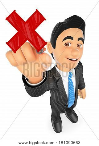 3d business people illustration. 3D Businessman drawing a red cross with a marker pen. Isolated white background.