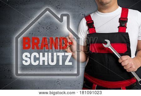 Brandschutz (in German Fire Protection) With House Touchscreen Is Operated By Technician