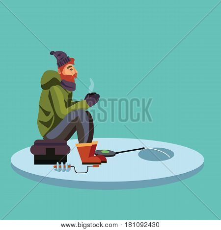 Flat fisherman hat sits on bag with spin fishing rod in hand and catches bucket, Fishman crocheted spin into the ice-hole waiting big fish funny vector illustration, Man active banner concept