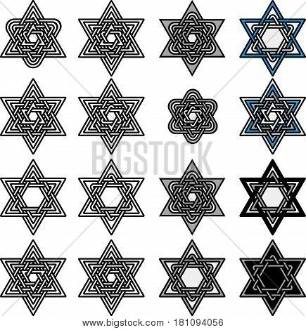 Knoted Israel David stars collection. Set of abstract graphic elements for your design. Black stars and circles isolated on white background. Vector illustration