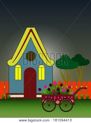 Night City Background with Suburban House Front View Building and Carriage with flowers. Vector cartoon illustration.