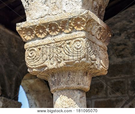 San Miguel Arcangel Church in the Andaluz province of Soria Spain. Detail of the decoration of the Roman capital