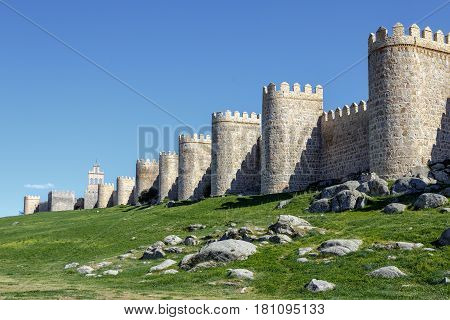 Scenic medieval city walls of Avila Spain UNESCO list