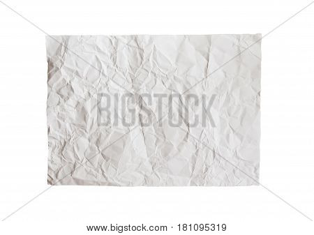 crumpled white paper sheet texture background for design isolated on white