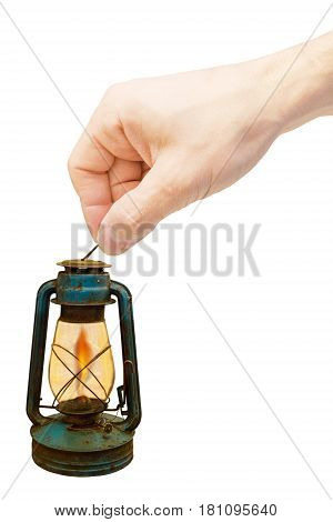 Vintage lamp isolated on white background. Kerosene vintage oil gasoline lamp.