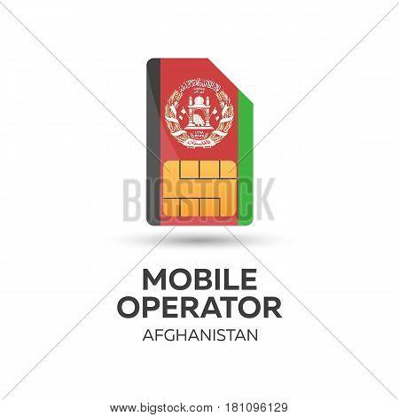 Afghanistan Mobile Operator. Sim Card With Flag. Vector Illustration.