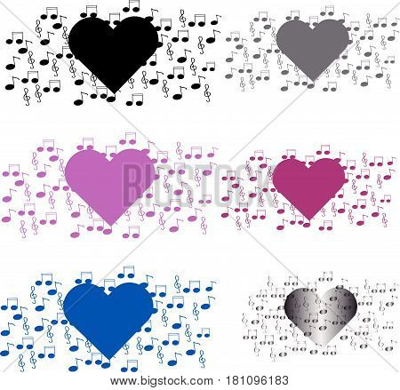 Heart with notes on white background. Vector illustration.