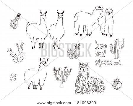 Cute Lama, Alpaca and cactuses set. Hand drawn vector illustration.