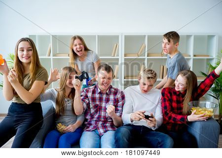 Group of friends playing an xbox game