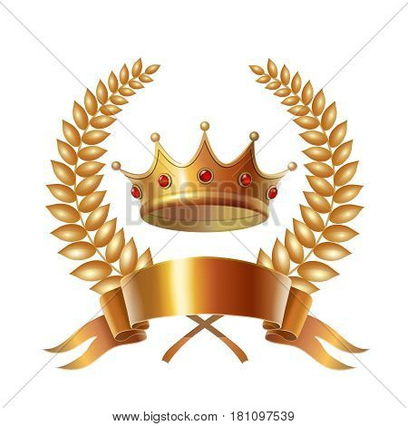 Gold vintage crown and laurel wreath, royal emblem.