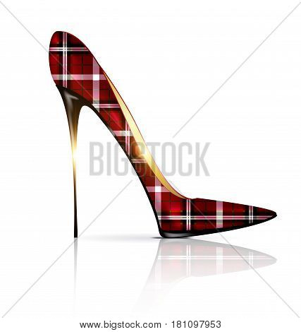 white background and the red plaid ladys shoe