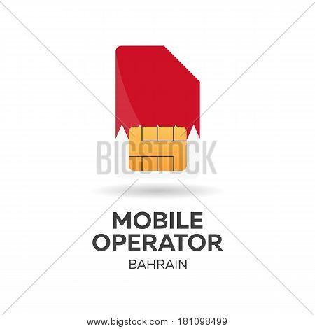 Bahrain Mobile Operator. Sim Card With Flag. Vector Illustration.