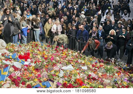 STOCKHOLM, SWEDEN - April 09, 2017:Floral Tributes in Stockholm,   truck attack in central Stockholm