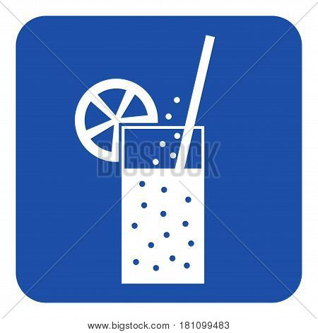 blue rounded square information road sign - white glass with carbonated drink straw and citrus icon