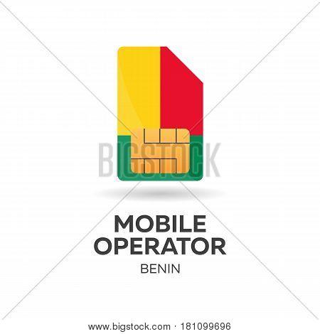 Benin Mobile Operator. Sim Card With Flag. Vector Illustration.