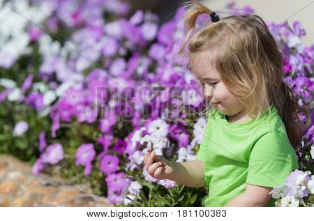 adorable baby boy happy little child with blond hair in green tshirt smiling at flowerbed with white violet blossoming flowers in spring summer park on natural background. Childhood happiness