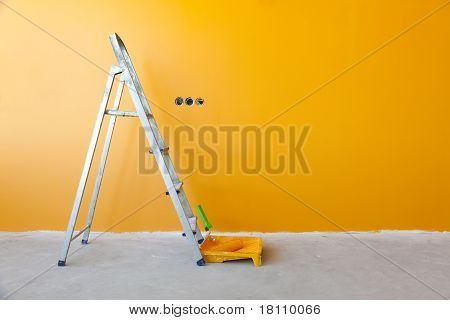 Ladder, Paint Can And Paint Roller