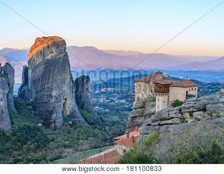 Spectacular rock formations and Greek Orthodox monasteries. Amazing monasteries of Meteora, Trikala, Greece