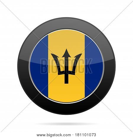National flag of Barbados. Shiny black round button with shadow.