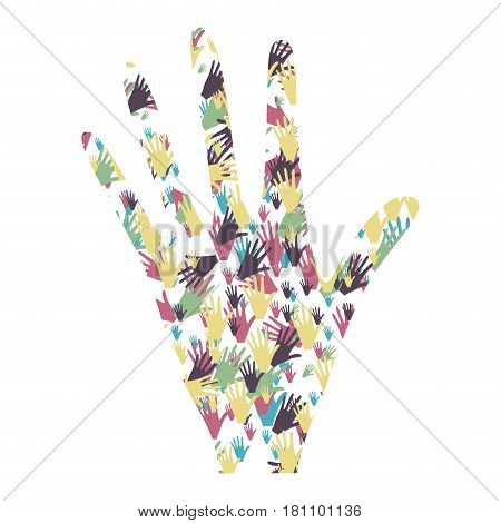 colorful left hand formed by pattern of hands vector illustration