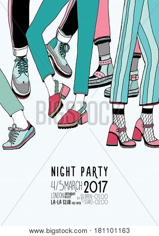 Night party hand drawn colorful poster with dancing legs. Dance, event, festival vector Illustration placard