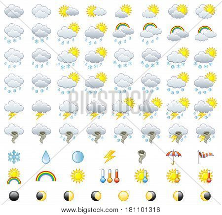 Meteorology Icons Set. Weather icons. Vector Illustration.
