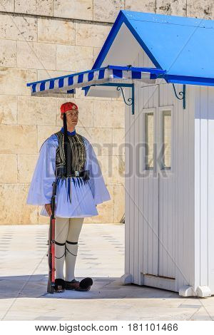 ATHENS, GREECE - MARCH 25, 2017: Ceremonials Changing of the Guard, Greece