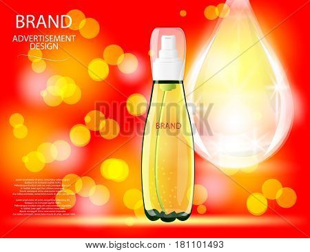 Collagen Premium Serum container template with drop glossy bottle on the sparkling effects background. Mock-up 3D Realistic Vector illustration for design template