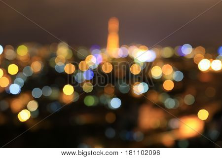 Night city lights bokeh background. Defocused bokeh lights. Blurred bokeh. Bokeh light vintage background.