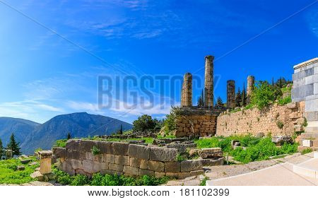 Delphi, Greece. Delphi is the famous as the ancient sanctuary that grew up as the seat of the oracle that was consulted on important decisions throughout the ancient classical world.