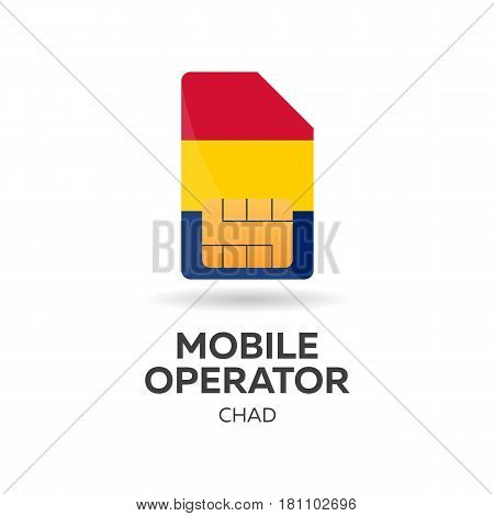 Chad Mobile Operator. Sim Card With Flag. Vector Illustration.