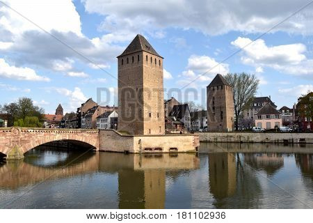 A view of the bridge in Strasbourg prison in Alsace - France