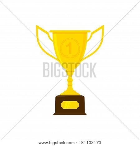 Trophy cup or goblet in flat style. Isolated on white vector illustration.