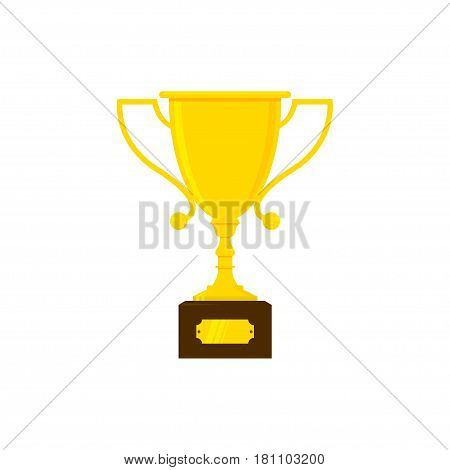 Vector trophy cup, award or goblet flat icon. Isolated on white vector illustration.