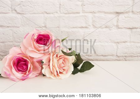 Pink Rose Mock Up. Styled Stock Photography. Floral Styled Wall Mock Up. Rose Flower Mockup, Valenti
