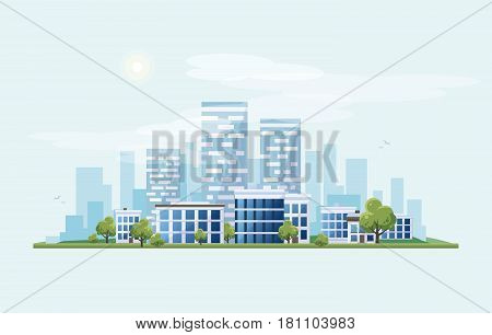 Flat vector illustration of urban landscape street with city office buildings on skyline backround in cartoon style.
