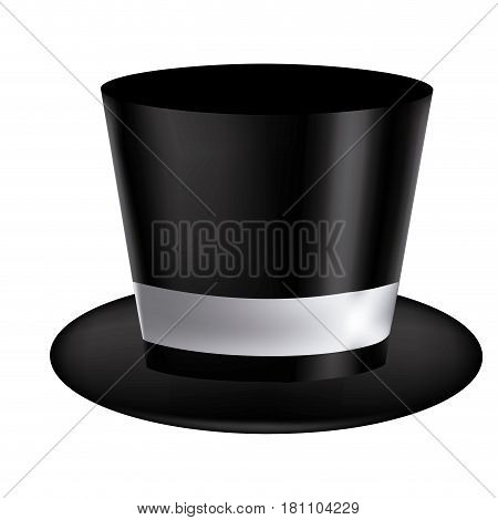 silhouette of realistic black hat with ribbon in frontal view vector illustration
